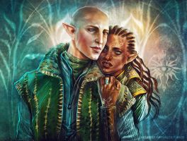 Commission - Solas and Nesnaya Lavellan by JustAnoR