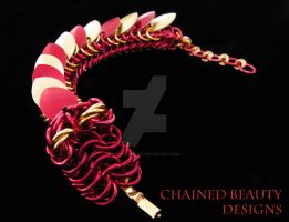 Red and Gold Chainmaille Dragon Bracelet by ChainedBeauty