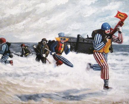 An Oil Painting of Clowns Storming Normandy Beach by aaronprovost
