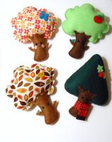Four Seasons Tree Plushies by msmegas