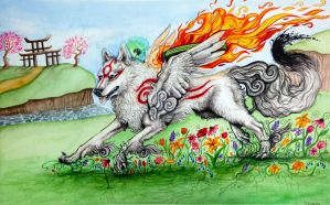 Okami Watercolor by MichiNekomata