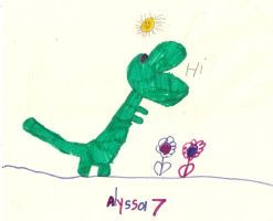 Children Drawing - Dinosaur - Markers by VioletSuccubus