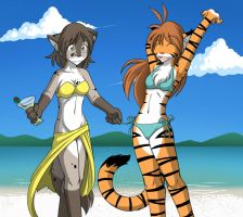 Flora and Kat on Spring Break by Twokinds