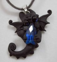 little blue fish toothless necklace by carmendee