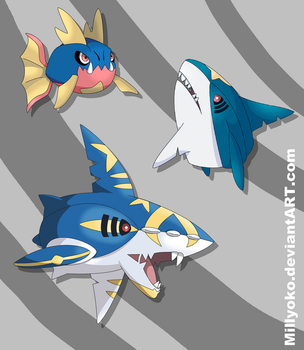 Carvanha, Sharpedo and Mega Sharpedo by Millyoko