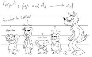 Project : 4 pigs and the wolf by Coffgirl