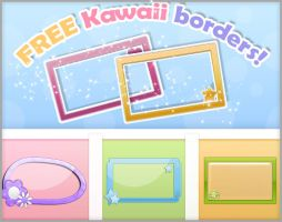 FREE kawaii borders - Thanks for my 60 Watchers! by RinaShuu
