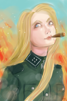 Military girl in fire by Dame-Cruz