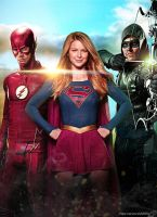 The Flash Supergirl Arrow CW Poster Textless by Timetravel6000v2
