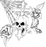 Skull, Cross, And Rose 2 6 years ago in Tattoo Design