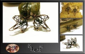 Leaf- wire wrapped earrings by mea00