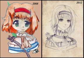 Sketching: 2008 VS 2012 by Tajii-chan