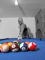 Heather playing pool by theindieboy