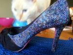 Blue violet rhinestone shoes by AsylumsHoneyBee