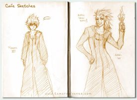 Roxas + Axel sketches - KH2 by Noiry