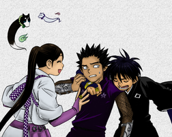 Kekkaishi manga -colored panel by prplpen