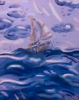Sailboat Painting, Ride the Waves by Taiya001
