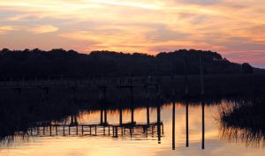 Orange Sunset on the Salt Marshes of SC by winterface