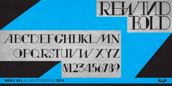 rewind bold Typeface Font by Weslo11