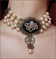Octopus pearls choker by Pinkabsinthe