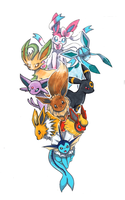 Commission: Eeveelution Family by matsuyama-takeshi