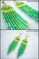 Mixed Green Beaded Earrings by Natalie526