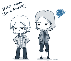Day 6: Wearing each others' clothes  (Sabriel) by Nile-kun