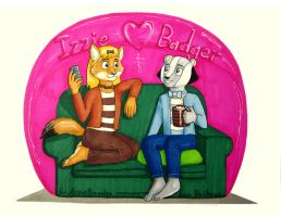Izzie and Badger by Valkeus