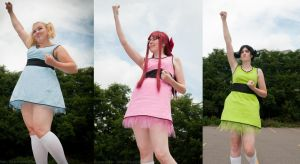 Blossom, Bubbles, and Buttercup Cosplay Costumes by OxfordCommaCosplay