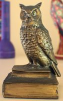 Owl On Books by Just-A-Little-Knotty