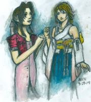 Two Dreamers: Aerith and Yuna by finalprodigy