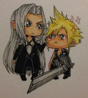 Sephiroth and Cloud by TristesseDeCiel