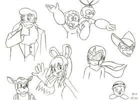 Mega Man Characters Doodles by SimonArty