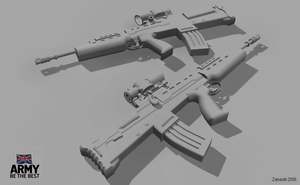 SA80A2 clay render by Zanarah