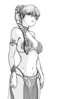 Asuka wearing Leia's Slave Outfit. by jtsketch