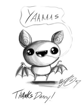 Doodle - Pudding Bat saying yaaas by BunnyBennett