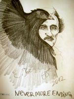 Edgar Alan Poe with raven by ShadeOvWarlock