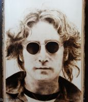 John Lennon - Wood burning by brandojones