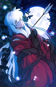 Inuyasha in the forest by Poiizu