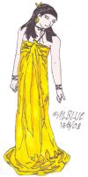 Lin in Gold Satin Dress by MLBlue