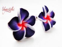 Deep purple polymer clay flowers post earrings by Benia1991