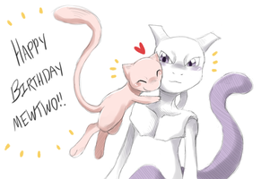 Happy Birthday Mewtwo!! by snuddi