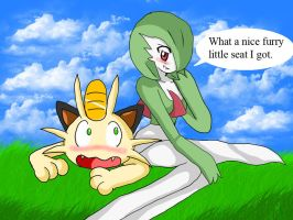 RQ:Gardevoir and Meowth by ss2sonic