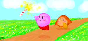kirby and waddle dee by Dragonfly929