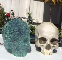 car glass sculpture and original skull form by Mark-D-Powers