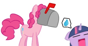 Pinkie stuck in a mailbox by Kittengirl34