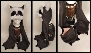 Raccoon Hat With Mittens by Mermade4u