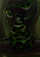 Akimo and Kaa in the Deep Jungle by jdashe