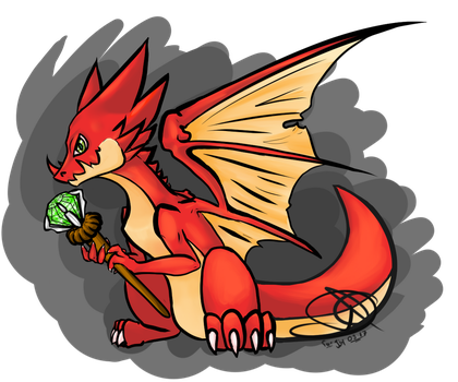 Little dragon with his jewel by DreyKun