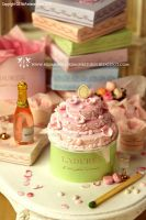Miniature Pink Wedding Cake by CaroMcFW